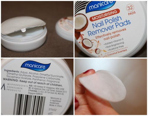 Manicare moisturising nail polish remover pads effectively removes lacquer vitamin e coconut hydrating australian beauty review ausbeautyreview blog blogger aussie priceline travel essential pack