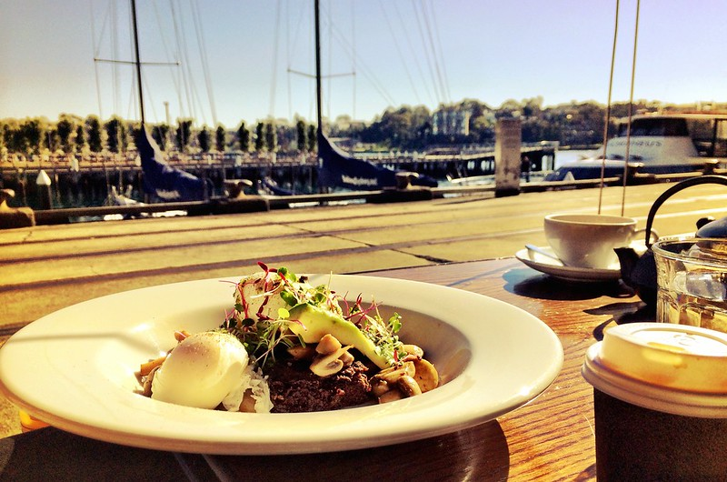 Brunch with Katie at Cafe Morso, Jones Bay Wharf, Pyrmont, Sydney, Australia
