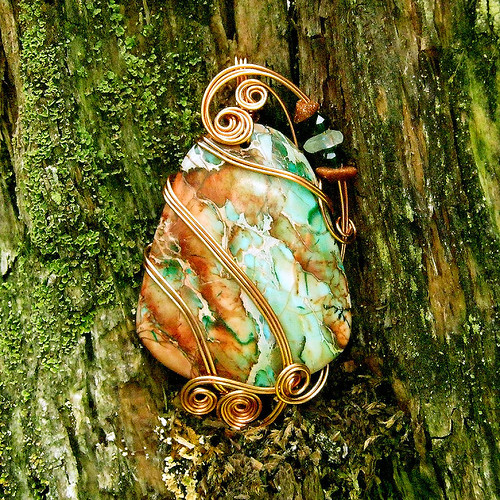 Sea Sediment Jasper Copper Wire Wrapped Pendant Necklace