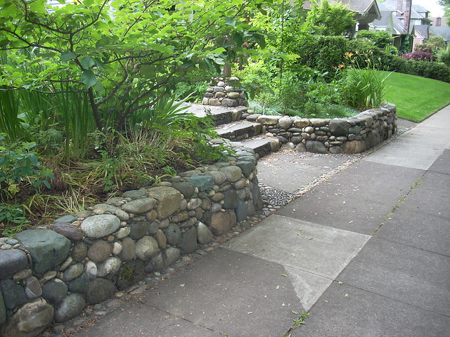 River rock retaining wall flickr photo sharing for River rock wall