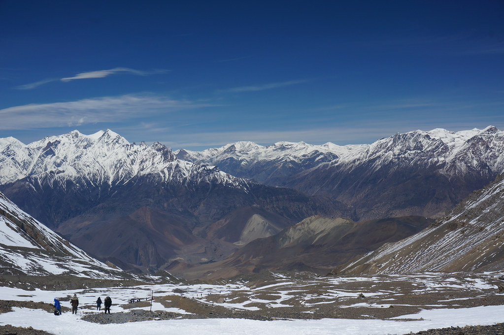 Towards Muktinath from the Thorong La Pass