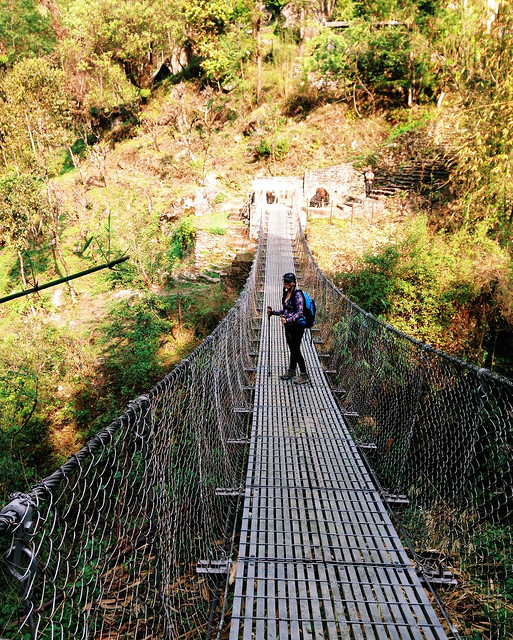 Day 2 of the Annapurna Base Camp trek - crossing suspension bridges