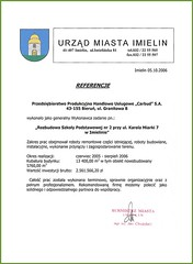 Referencje Urzędu Miasta Imielin 2006r.