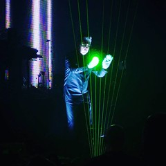 Jean Michel Jarre plays his famous laser harp during his Electronica Tour in Birmingham 2016 #JMJ2016 #JMJ #Laser #Tour #Electronica