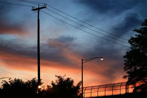 street bridge sunset sky clouds lights sundown overpass powerlines