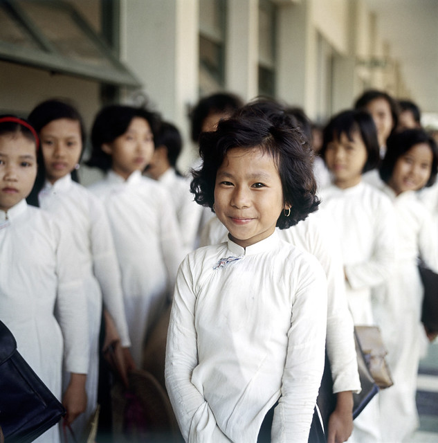 Two rows of schoolgirls, Vietnam, 1967