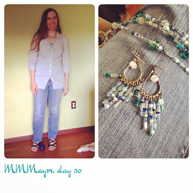 Me-made blouse/jewelry, purchased jeans and tank top. #mmmay14