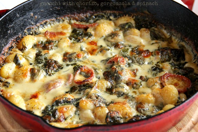 Gnocchi with chorizo, gorgonzola & spinach 1