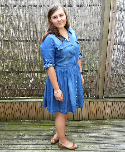 chambray denim shirt dress & peep toe flats