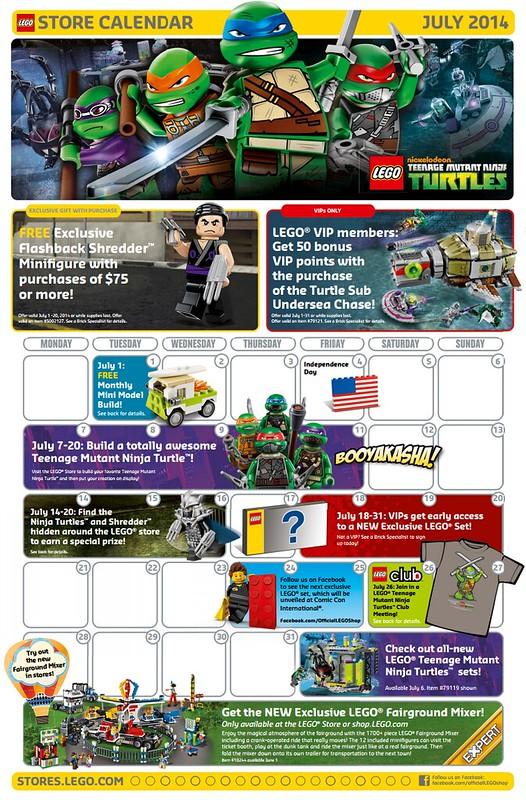 LEGO July 2014 Store Calendar
