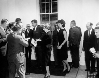 President John F. Kennedy and First Lady Jacqueline Kennedy Bid Farewell to Prince Rainier III and Princess Grace of Monaco
