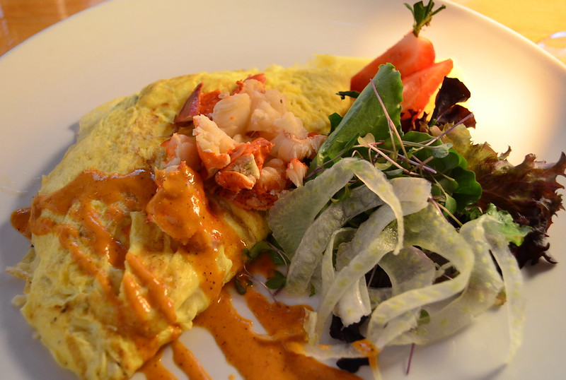 Champangne Butter Poached Lobster with Avocado Omelet
