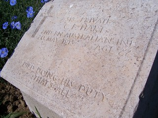 Headstone from Lone Pine cemetery