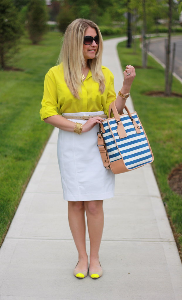 White, Yellow, and Stripes Work Outfit