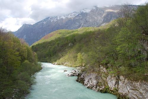 mountains river view canyon slovenia emerald soča primorska