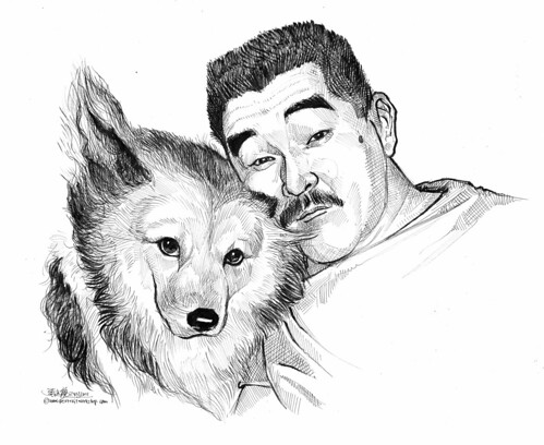 Portraits in pen and brush of a man and dog