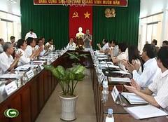 Trưởng ban Tuyên giáo Trung ương Đinh Thế Huynh làm việc với Ban Thường vụ Tỉnh ủy Trà Vinh