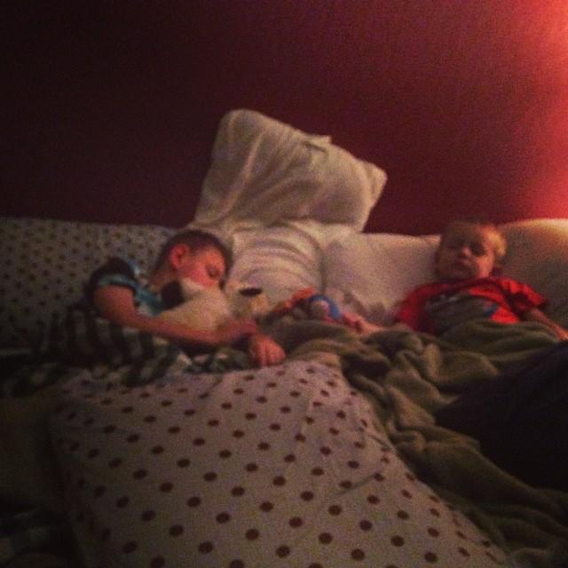 "Grayson said ""I need to cuddle with Tyler "" #lovethem #frenemies #momoftheyear #ineedabiggerbed"