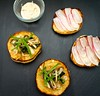 English Muffins with Ramps and Porcini and Radishes