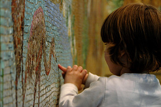 Exploring the past (mosaic showing prehistoric animals)