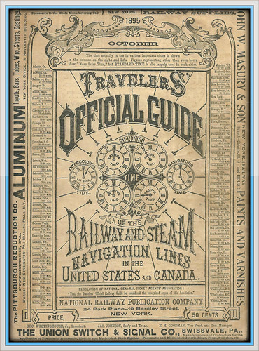 1895 Travellers Official Guide Railway & Steam Navigation Lines of the US and Canada, cover by mcudeque