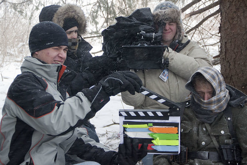(From L to R): Grant Harrison '14, Justin Westfall '13, Wade Ferrari '13, and Eric Schaum '15 prepare for the next shot in a blizzard on the set of Der Kampf.