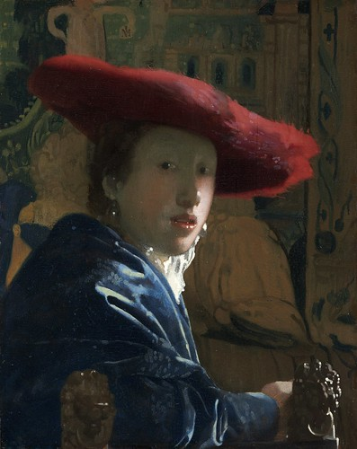 Johannes Vermeer - Girl with the Red Hat [c.1665-66] by Gandalf's Gallery