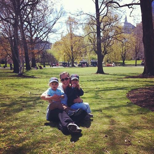 Enjoying Boston Gardens on a beautiful day