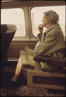 Scenery on the Southwest Limited attracts an elderly passenger on an Amtrak train between Los Angeles, California, and Albuquerque, New Mexico, June 1974