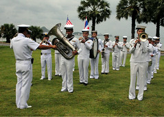 army(0.0), musical ensemble(0.0), infantry(0.0), marching(0.0), military person(0.0), air force(0.0), marching band(1.0), musician(1.0), navy(1.0), military(1.0), person(1.0), troop(1.0), military officer(1.0),