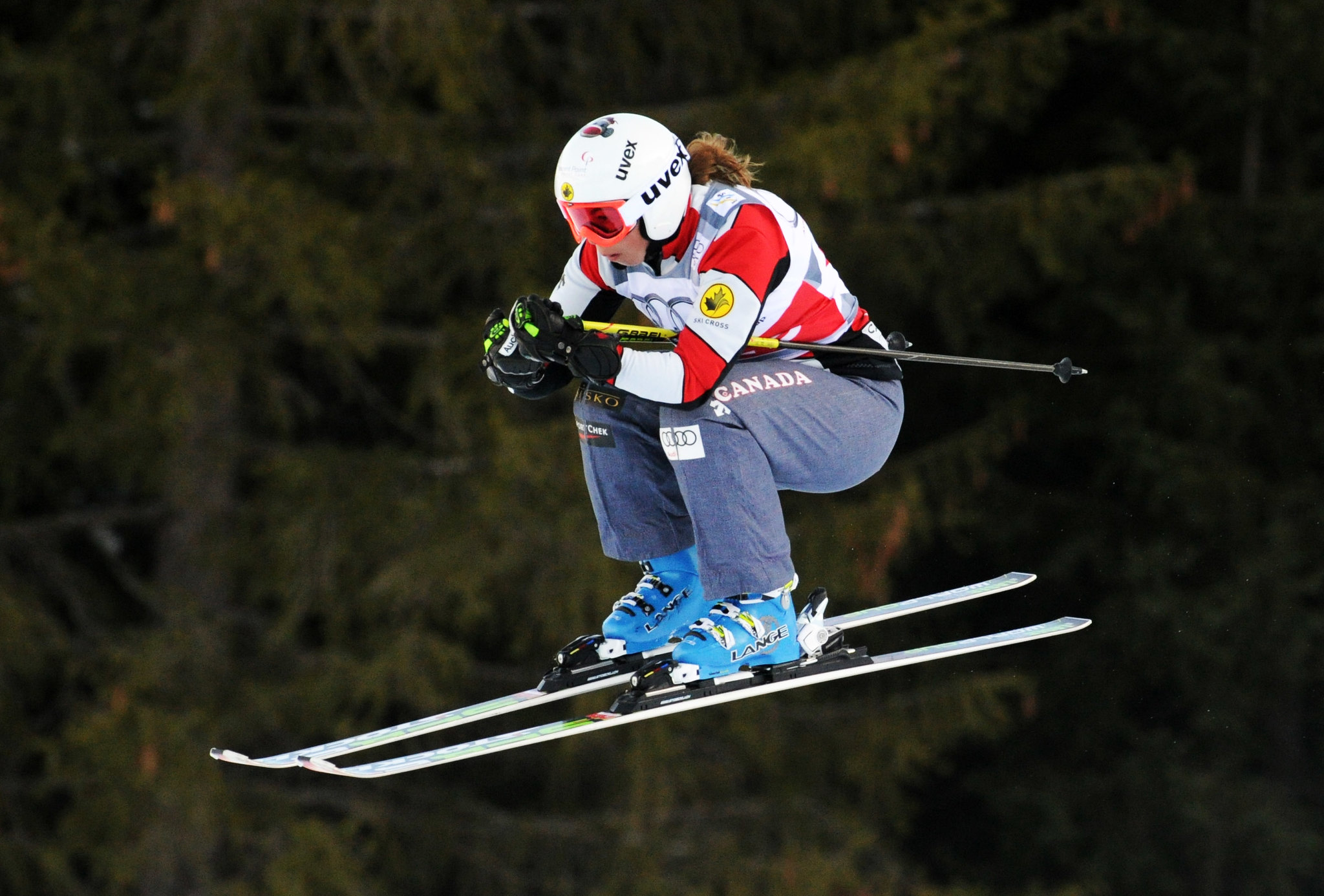 Danielle Sundquist in a qualifying run at the ski cross World Cup in Innichen/San Candido, Italy.