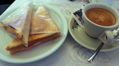 Ham and cheese sandwich and coffee. Verona.