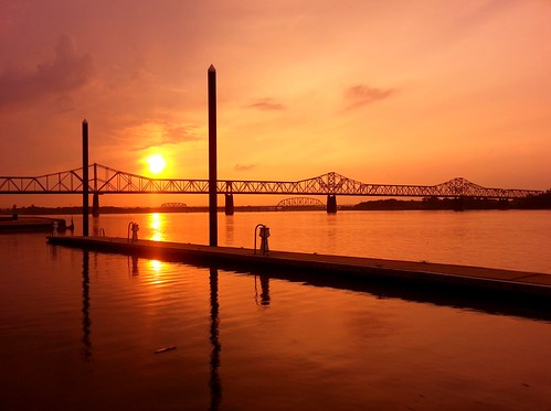 sunset evening clear louisville kentucky water river ohioriver docks boating orange sky digital