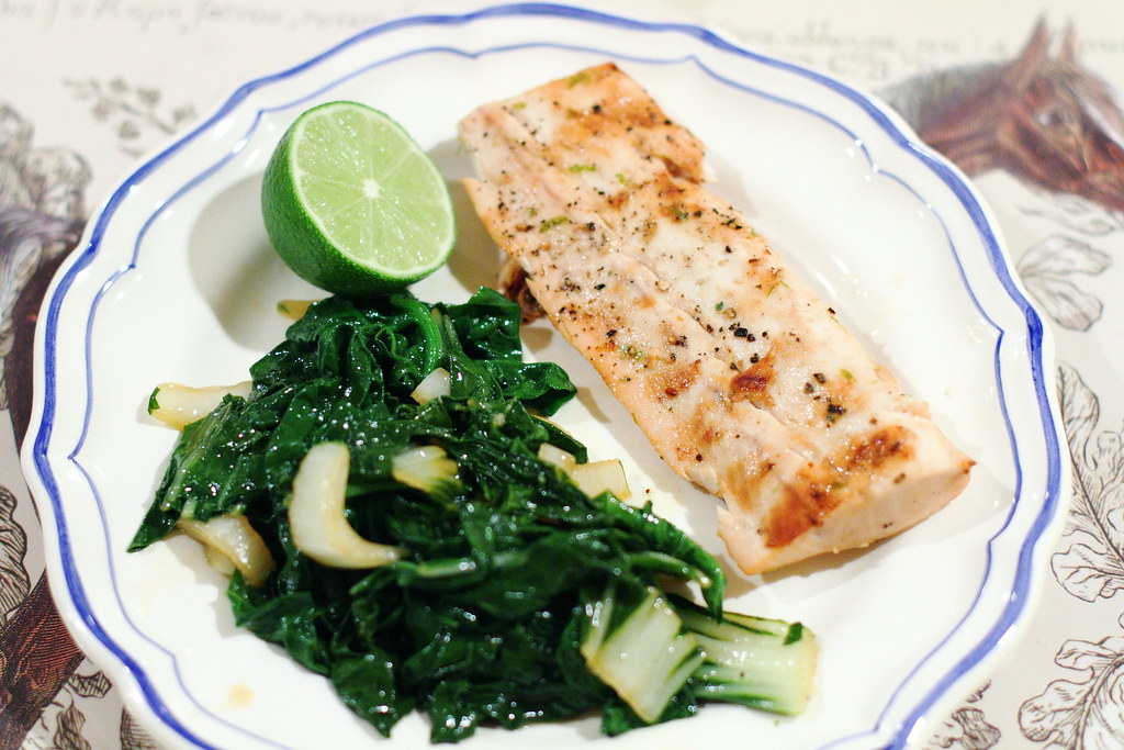 Asian-Inspired Mahi Mahi and Garlicky Greens
