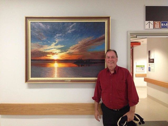 Mike and his Painting donated to Royal Northshore Hospital