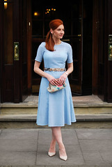 Blue embroidery anglaise 1950s style dress