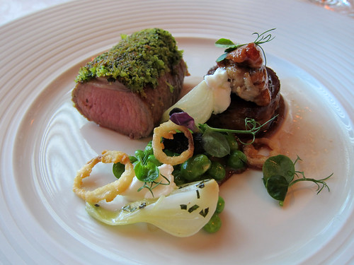 Loin of Lamb, Herb Crust, Caramelised Shallot and Peas