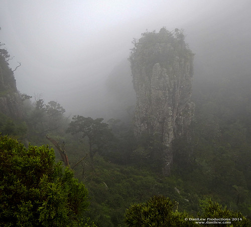 Fog and mist surrounds the Pinnacle Rock in Blyde River Canyon Nature Reserve, South Africa - taken with a Nikon Coolpix AW110