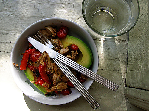 warm chicken and roasted fennel vinaigrette over avocado