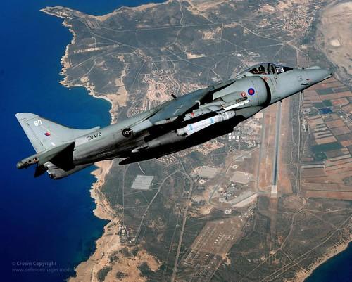 Royal Navy Harrier Jet High Over RAF Akrotiri, Cyprus