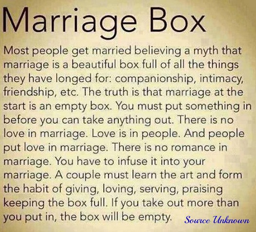Saying - Marriage Box