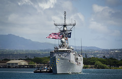 PEARL HARBOR (June 20, 2011) Guided missile frigate USS Rueben James (FFG 57) returns home after a five-month deployment in the Western Pacific. The deployment included integrated operations with coalition partners to strengthen relationships and enhance force readiness. (U.S. Navy photo by Mass Communication Specialist 2nd Class Daniel Barker/Released)
