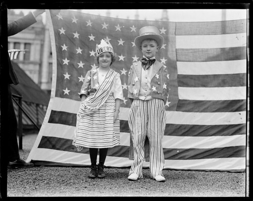 "Kiddies dressed as ""Columbia"" and ""Uncle Sam"", Bunker Hill Day, Charlestown by Boston Public Library"