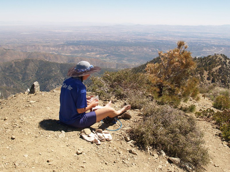 Vicki relaxing on the summit of Telegraph Peak