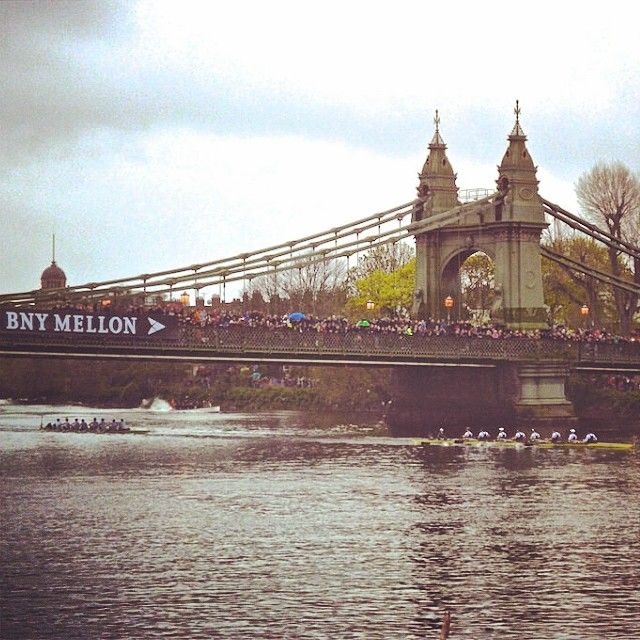The crews going under Hammersmith Bridge #BoatRace#DarkBlue#Oxford#Varsity#London#Rowing