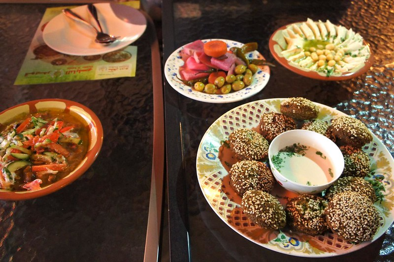 Sultan Dubai Falafel and Qwaider Al Nabulsi dishes