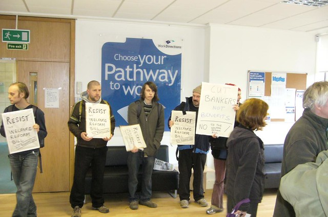 Edinburgh Coalition Against Poverty protest inside Edinburgh office of Work Directions