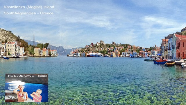 Greece, South Aegean Sea, Kastellorizo island,  view of the harbor while sailing off for the Blue Cave