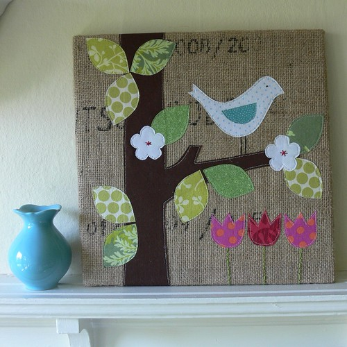 """Spring Is In The Air"" Burlap Art"