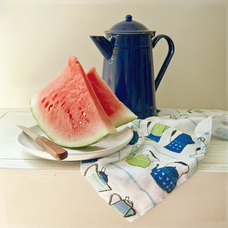 Blue pitcher and watermellon